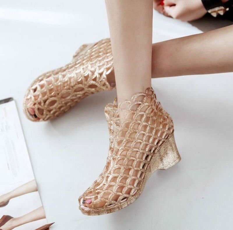 Details about Women's Wedge Peep Toe Hollow Out Heels Sandals Ankle Boots Rubber Jelly Shoes