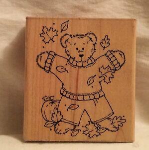 JRL-Design-Q285-Beary-Fun-Fall-Bear-Stamp-Wood
