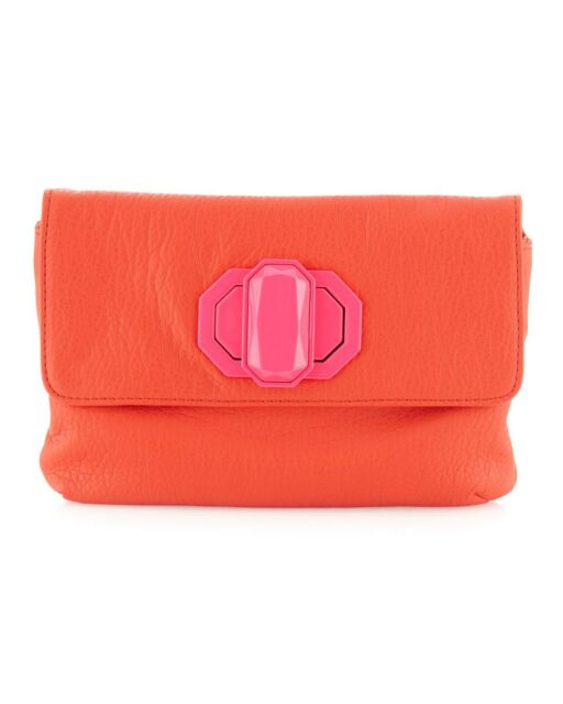 Deux Lux Handbag-Jules Neon Turn-Lock Clutch Bag Orange/Pink, White/Yellow NWOT