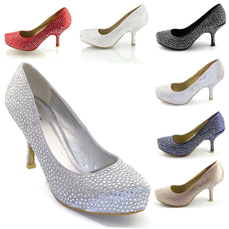 Ladies Satin Diamante Bridal Womens Kitten Mid Platform Bridal Diamante Wedding Prom Party Shoes d02f1c