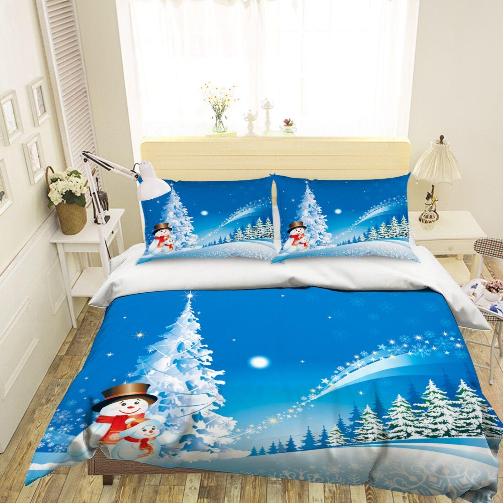 3D Christmas Xmas Weiß 48 Bed Pillowcases Quilt Duvet Cover Set Single King UK