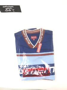 835e8edd3285 Supreme Warm Up Hockey Jersey Medium M Blue New In Hand FW18