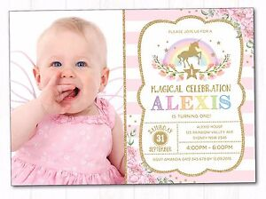 Image Is Loading Rainbow Unicorn First Birthday Invitation Party Supplies Girls