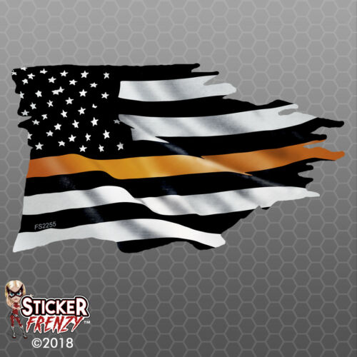 Thin ORANGE Line TATTERED Flag Sticker EMS memorial Vinyl Decal Car Truck FS2255