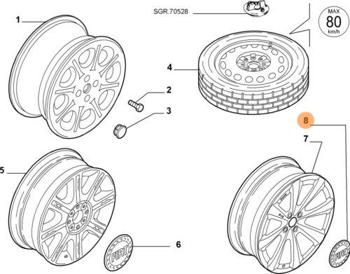 50mm 735448759 OEM New Genuine Fiat Punto Red Logo Alloy Wheel Centre Cap