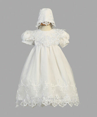 New Baby Girls White Organza 2 Pc Dress Gown Christening Baptism Bonnet 2560