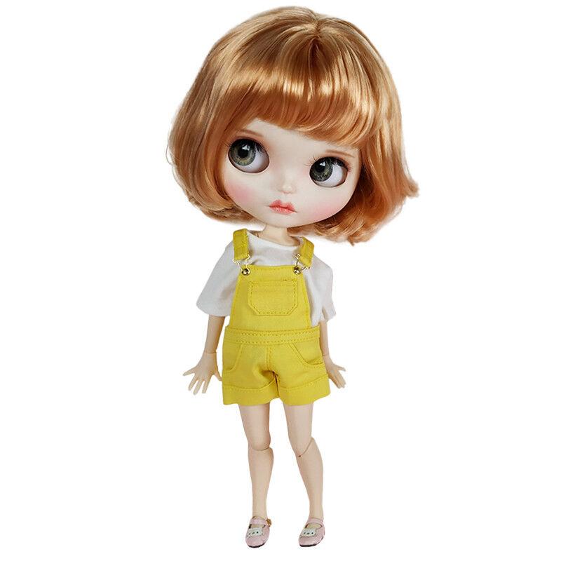 Blythe Desnuda Muñeca de fábrica de oro pelo corto con ojos para dormir Cejas Maquillaje