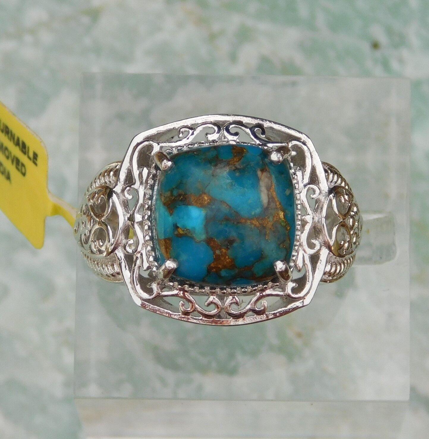 Mojave Turquoise RING size 8 Platinum Bond TGW 6.65 cts.