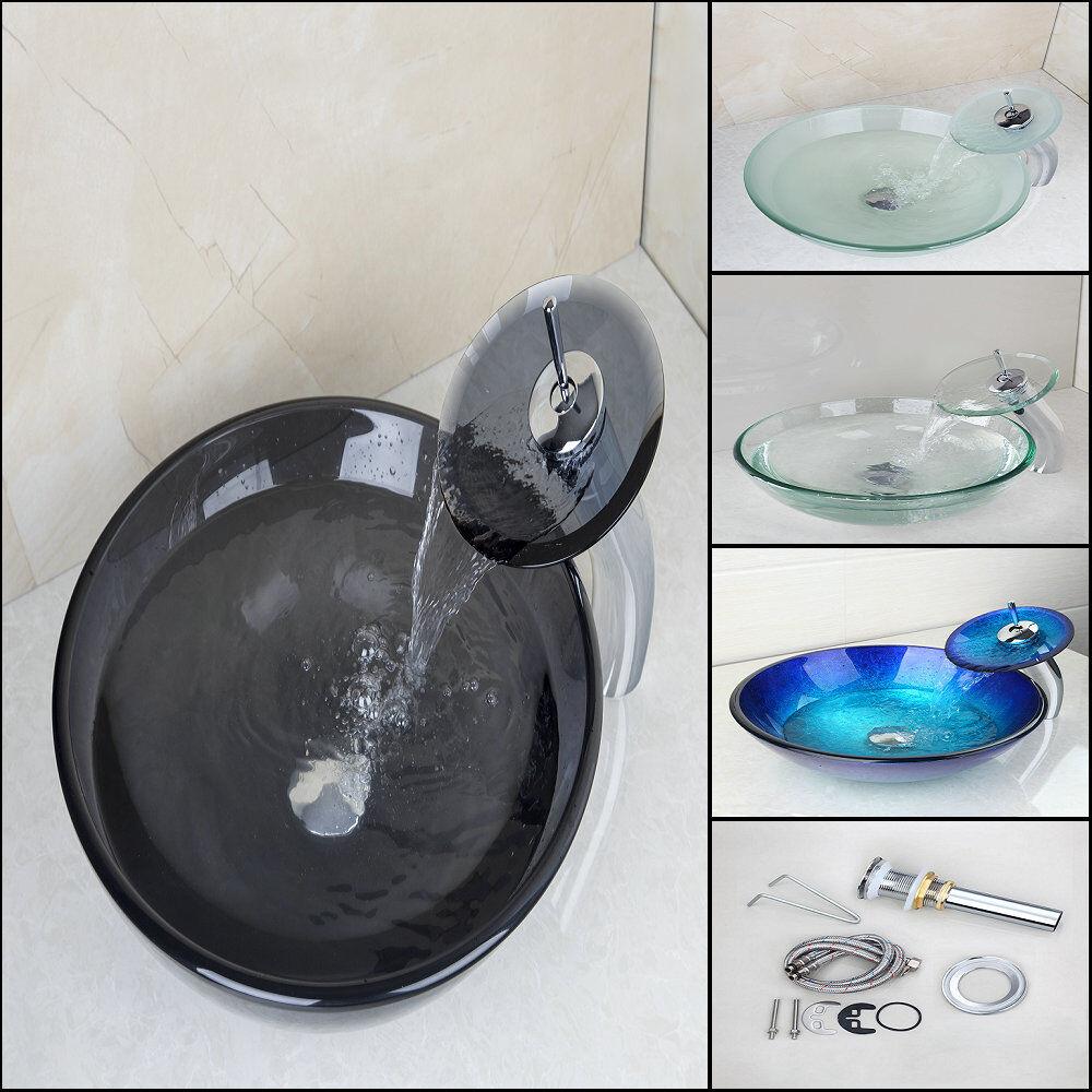 Plusieurs collections verre trempé navire salle de bains bassin évier + cascade robinets