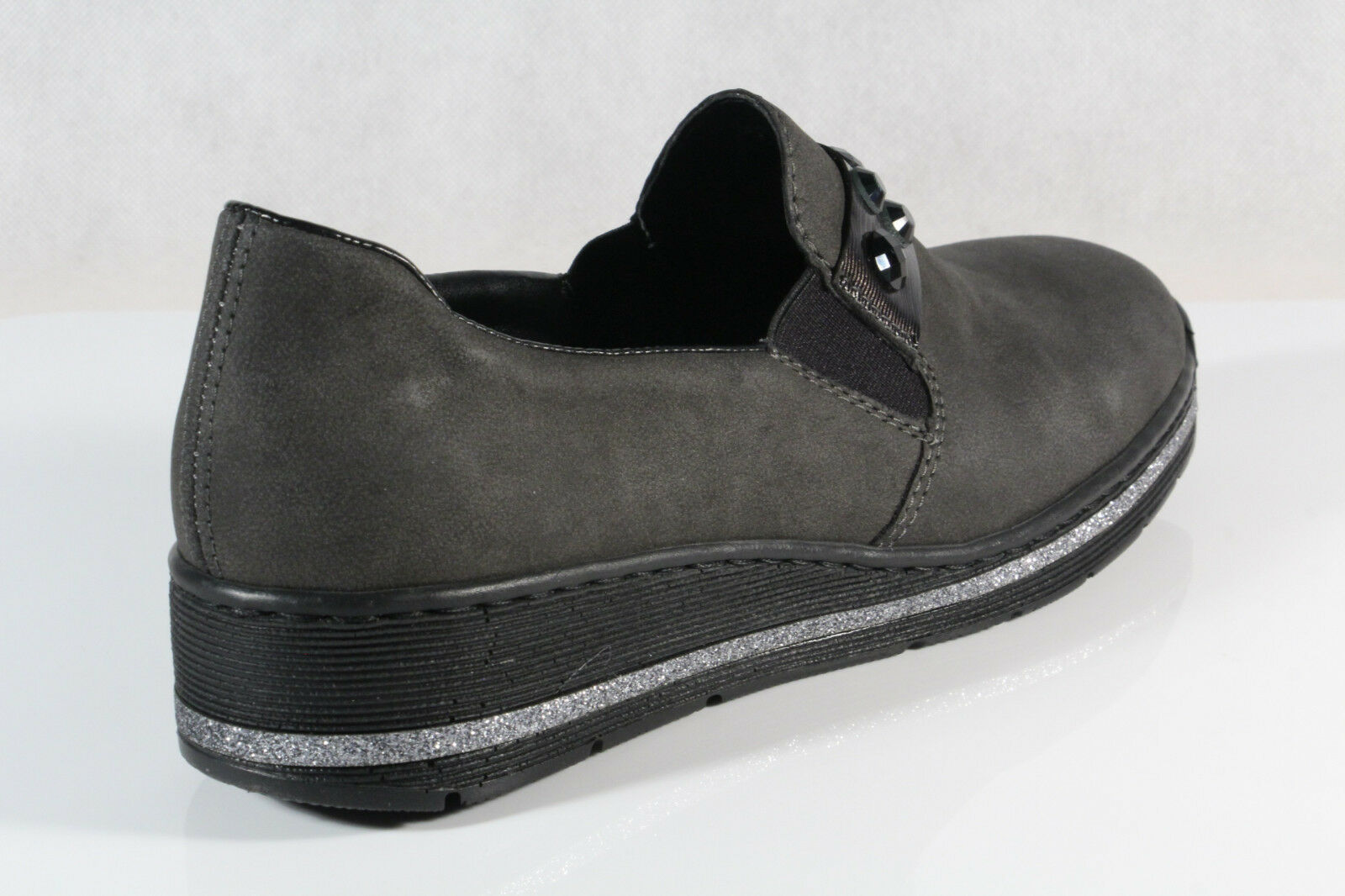 ... Rieker Damen Slipper Halbschuhe, Sneakers grau grau Sneakers 589D4 NEU  05a682 ... 51725f818c