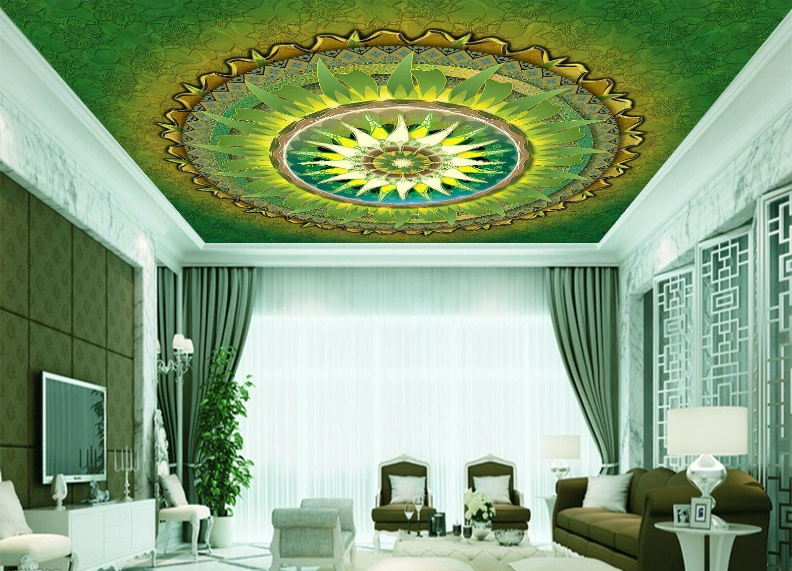 3D Green Pattern Art 4 Ceiling Wall Paper Print Wall Indoor Wall Murals CA Jenny