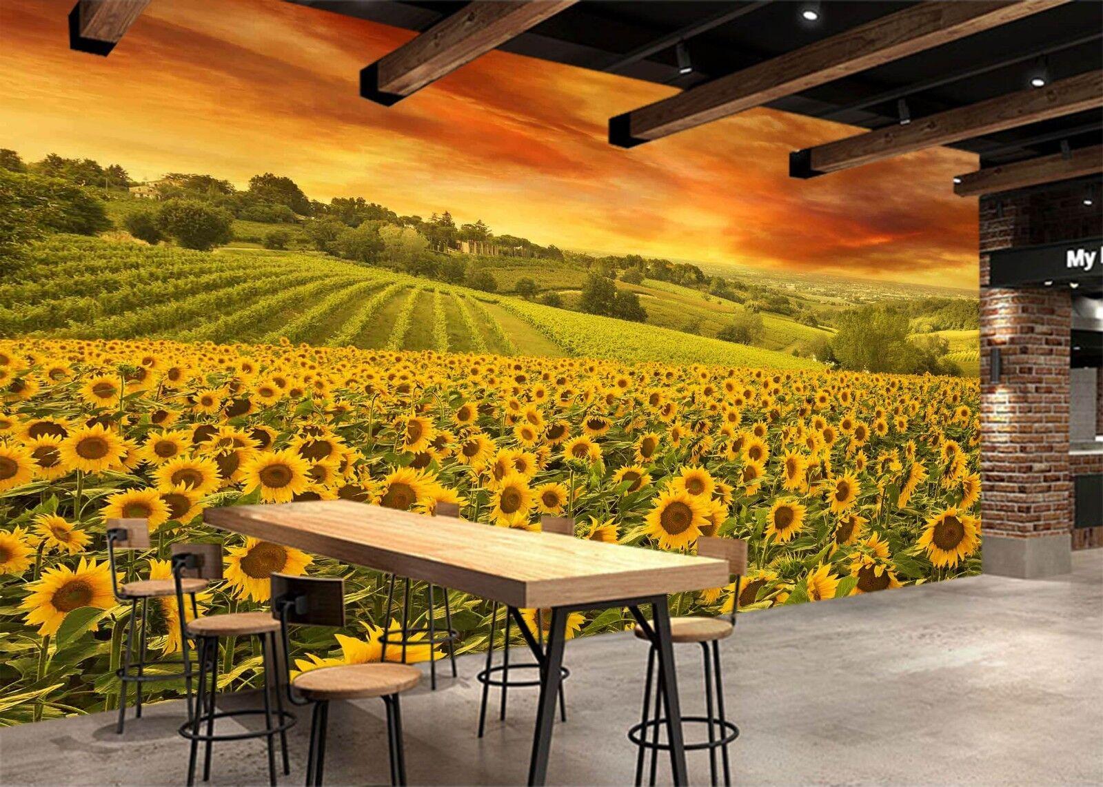 3D Sunflower Field 725 Wallpaper Mural Wall Print Wall Wallpaper Murals US Lemon