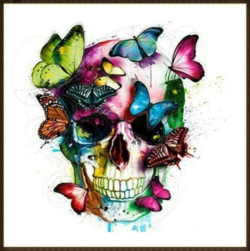 Full Drill DIY 5D Diamond Painting Butterfly Skull Cross Stitch Embroidery Decor