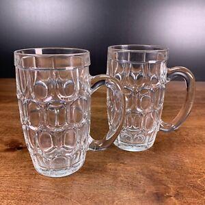 2 Vintage Glass Thumbprint Pint Beer Ale Mug FRANCE Imported Crown