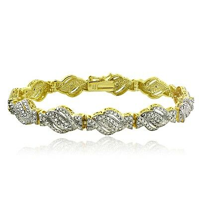 Gold Tone 1/4 Ct Diamond Twist Bracelet