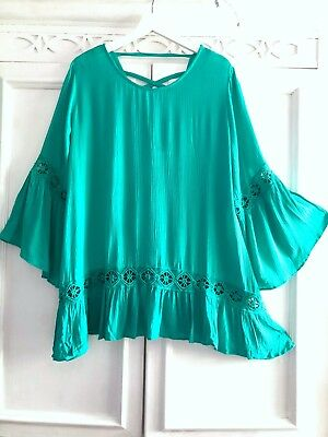 1X Green Pleated Lace Peasant Tunic Top Lined Blouse EXQUISITE Romantic Tassels