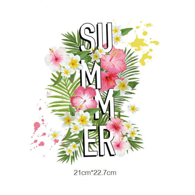 summer flower iron on patches heat transfer pyrography for diy clothing decor PT