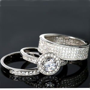 WEDDING RINGS 3 Piece Halo Engagement Bridal CZ 925 Sterling Silver Matching Set