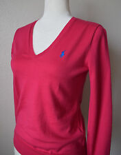 RALPH LAUREN Women's Sweater Pink V-neck 100% Cotton Italian Yarn Blue Pony Sz M