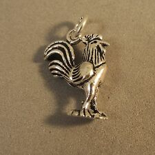 .925 Sterling Silver 3-D ROOSTER Feet on Base CHARM NEW Bird Pendant 925 BI38