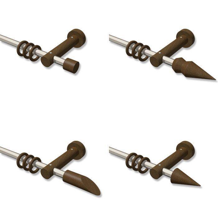Gardinenstangen 16 mm Ø in in in Edelstahl Optik und Holz in Nussbaum, viele Größen | Online-verkauf  fd067f