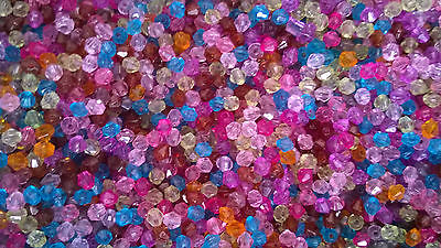 1000 Acrylic Faceted Bicone Beads 4mm COLOURS MIX Colours BUY ONE GET ONE FREE