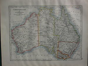 Australia Map 1900.Details About 1900 Victorian Map Australia Victoria Queensland New South Wales Commonwealth