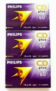 3-X-PHILIPS-CD-PLUS-60-NORMAL-POSITION-TYPE-I-BLANK-AUDIO-CASSETTE-TAPES