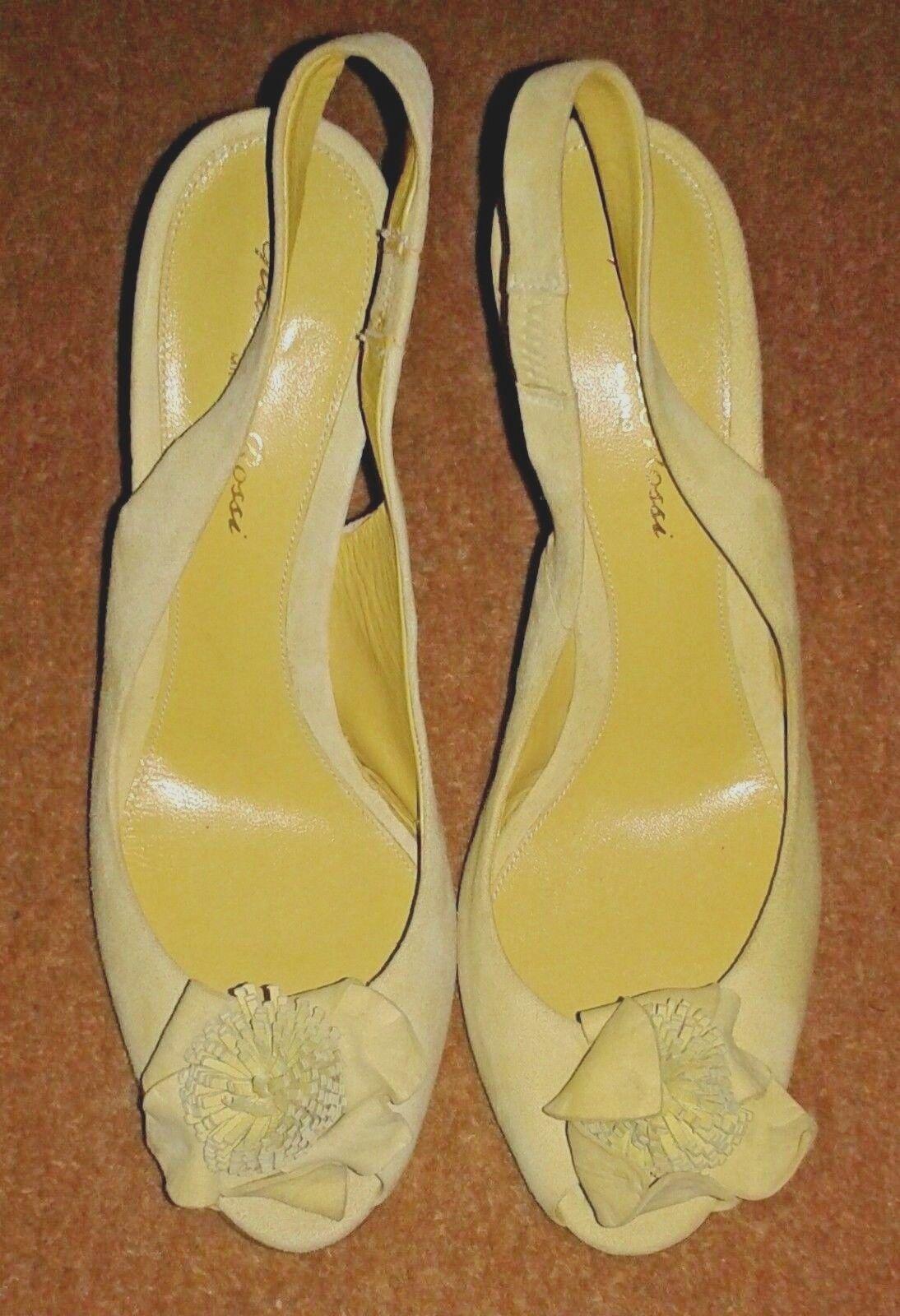 Gianvito Rossi Peep-Toe Slingback Chamois Lemon Heels - UK 4 / EU 37