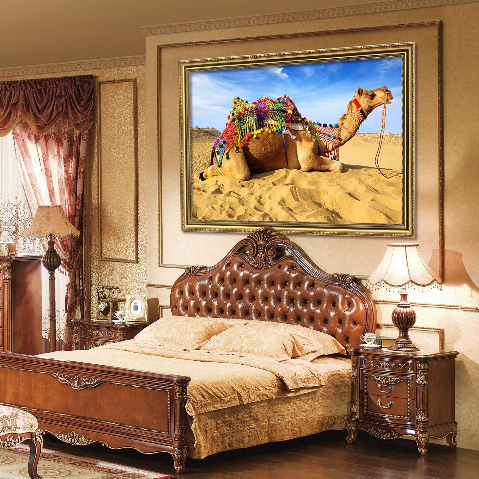 3d désert se reposent Chameau 2 Encadré affiche à la maison décor imprimer peinture art AJ de
