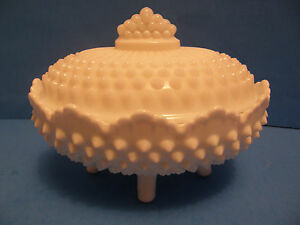 VINTAGE FENTON HOBNAIL WHITE MILK GLASS COVERED CANDY DISH ...