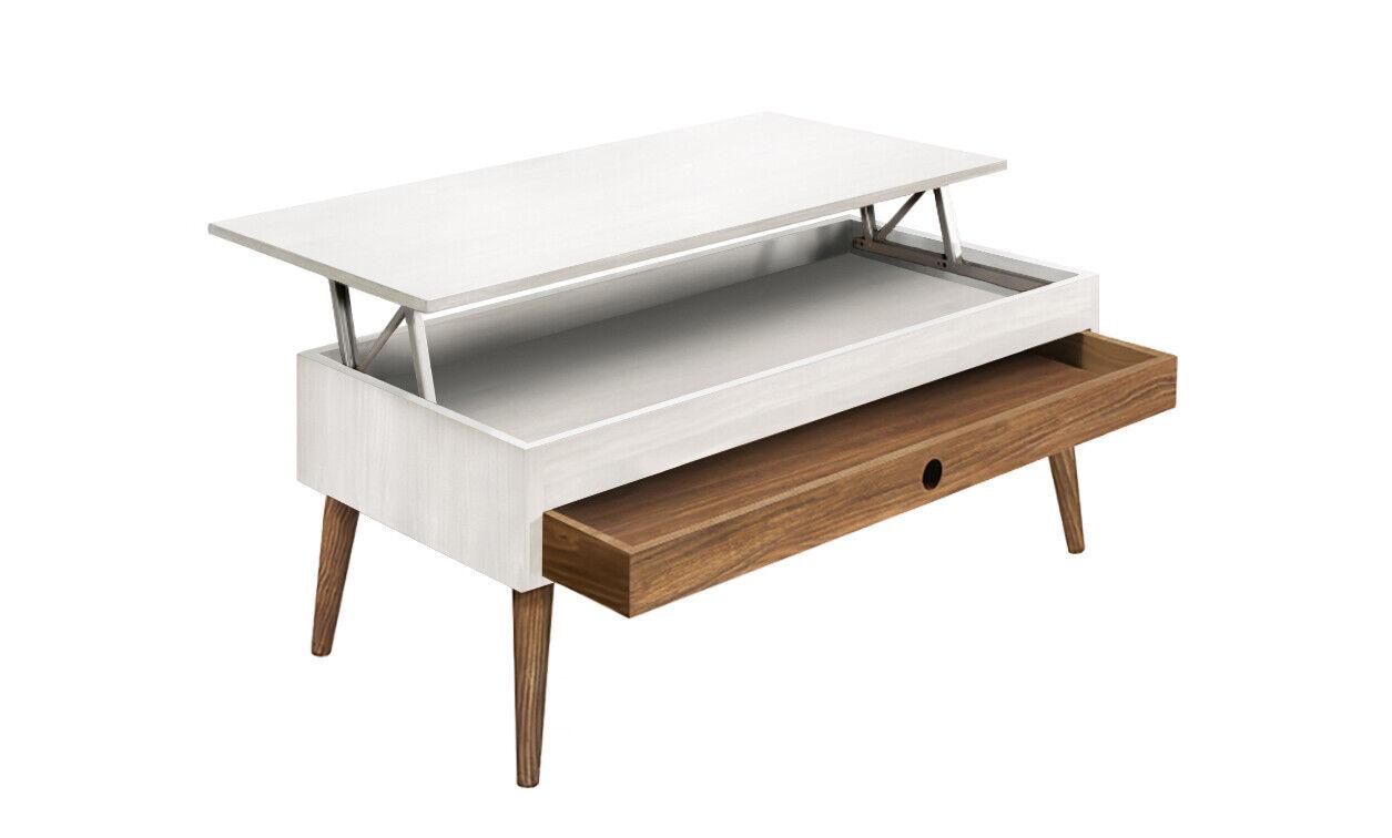 Mesa de centro elevable con cajón deslizante, color blanco y madera natural.