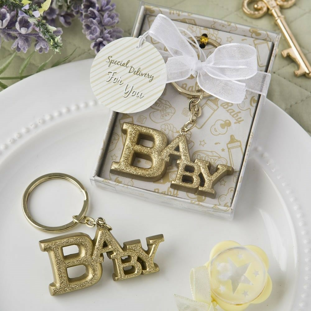 24 Luxurious Gold Baby Themed Keychain Baby Shower Party Favors