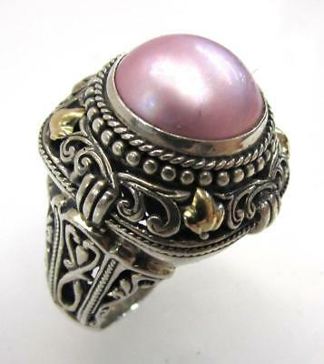 Sterling Silver 925 ROUND BALI MABE PEARL CABOCHON DESIGN RINGS SIZES 6-9