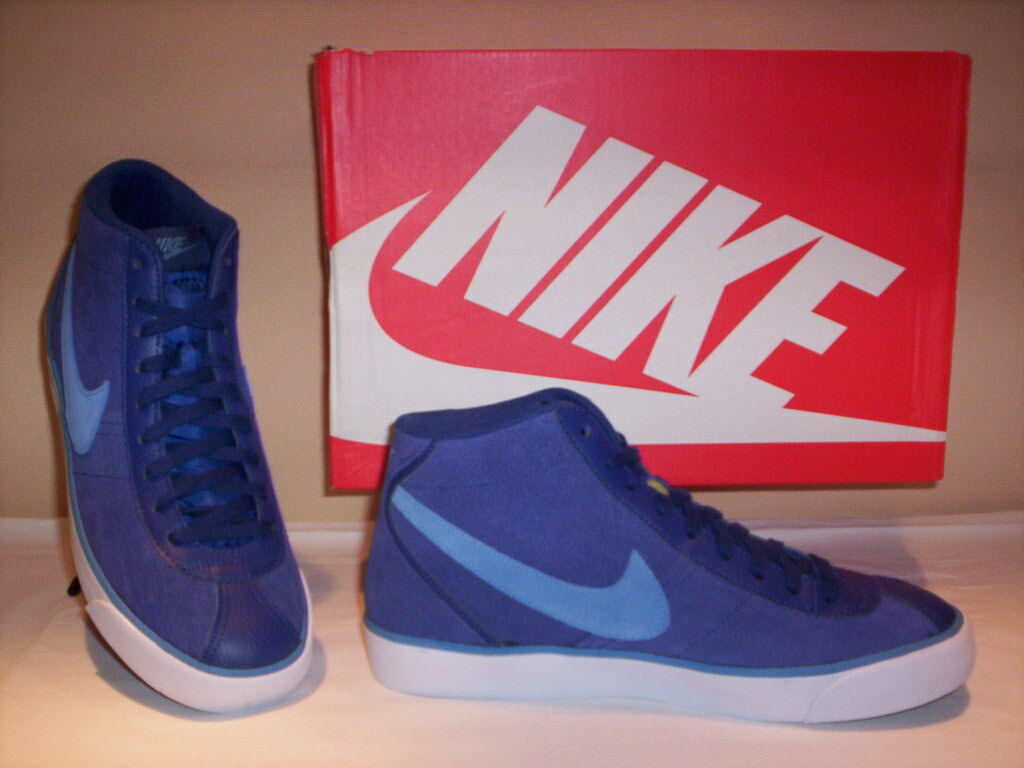 Nike Bruin Milieu chaussures de sport hautes baskets homme en cuir daim bleu