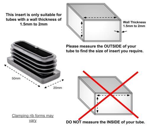 Quadratisch /& Rechteckig Plastik Endkappen Blindstopfen Rohr Kiste Teil Einsatz