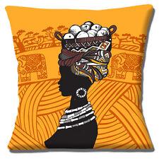 "African Tribal Lady 16""x16"" 40cm Cushion Cover Fruit Basket Elephants Orange"