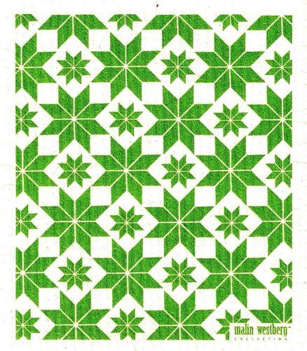 "Swedish Dishcloth /""Green Quilt/"" New Made in Sweden Malin Westberg    6.75/"" X 8/"""
