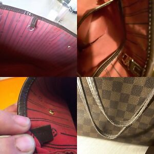 Image is loading Louis-Vuitton-Neverfull-Mm-Damier-Ebene-W-Red- 7248a20c44