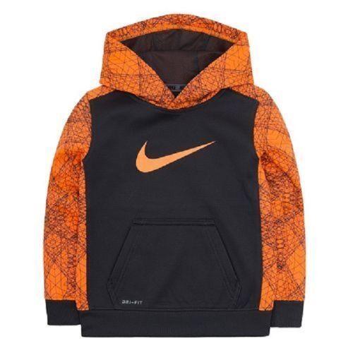 Nike Boys Dri-FIT Line Design Therma Pullover Hoodie ** ANTHRACITE//ORANGE ** NWT