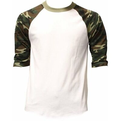 Raglan 3/4 Sleeve T Shirts Baseball Mens CAMO Plain Tee Jersey Team Sports
