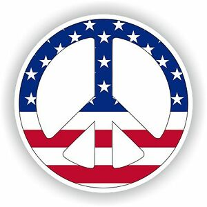 United States Peace Logo Sticker Love Sign Flag Gas Tank Tablet Truck Door Skate