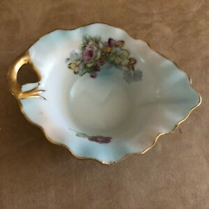 Kalk-porcelain-leaf-trinket-dish-turquoise-blue-24K-gold-edging-china-germany