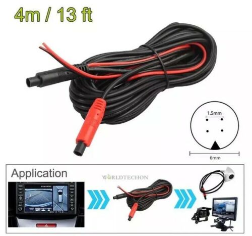 4-Pin Male To Male 4M Car Reversing Parking Camera Video Extension Cable Wire