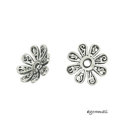 4 Antiqued Sterling Silver Daisy Flower Bead Cap Beads 10mm #99027