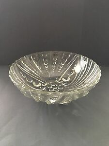 Vintage Anchor Hocking Oyster Pearl Burple Bubble Clear Glass Footed Bowl