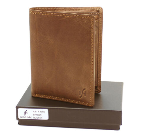 Mens RFID Wallet Brown Distressed Hunter Real Leather Removable ID Pocket #1090