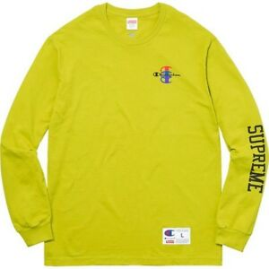 2ac5f1f1a677 SUPREME x Champion Stacked C L/S Tee Bright Green L box logo camp F ...