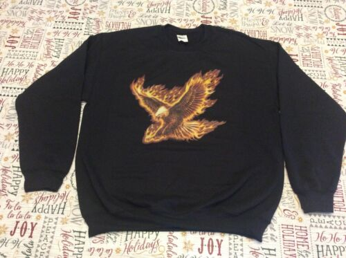 NWOT FLYING FIRE EAGLE Crewneck Black Sweatshirt  T-shirt Regular Sizes