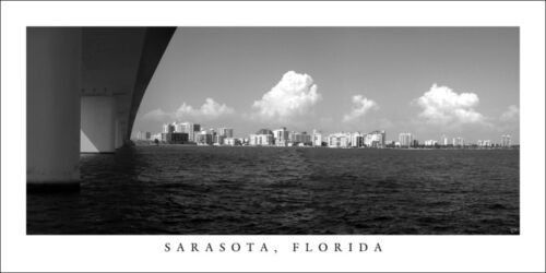 Florida Poster Panorama Sarasota Skyline Panoramic Fine Art Black /& White Print